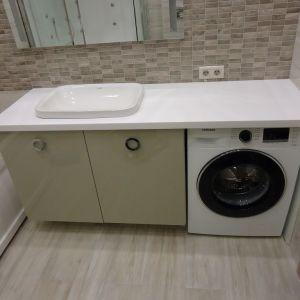 Столешница с накладной мойкой для ванной комнаты, камень Grandex - A 413