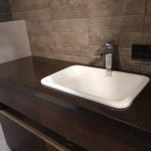 Столешница с накладной мойкой для ванной комнаты, Корейский искусственный акриловый камень Grandex - A 419