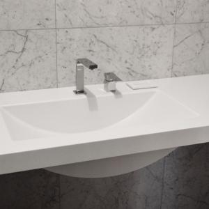 Столешница подвесная, с интегрированной раковиной и подставкой под мыло для ванной комнаты, камень LG Hi-Macs S -028