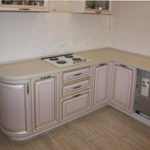 Кухонная угловая столешница с накладной мойкой и варочной панелью, камень LG - G 109